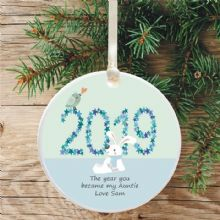 The Year you Became my Auntie/Uncle Personalised Ceramic Keepsake Decoration - Boy Bunny Design